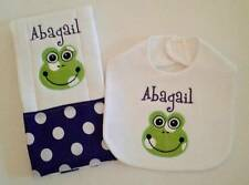 New Personalized Handmade Baby Purple Frog Applique Bib and Burp Cloth Set