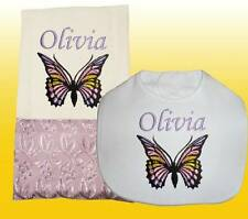New Handmade Personalized  Baby Girl Lilac Butterfly Bib and Burp Cloth Set