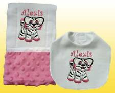 New Handmade Embroidered Personalized Baby Girl Pink Tiger Bib Burp Cloth Set