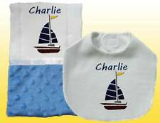 Blue Handmade Embroidered Personalized Baby Boy Sailboat Bib and Burp Cloth Set