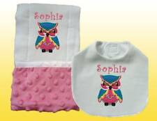 New Handmade Embroidered Personalized Baby Girl Pink Owl Bib and Burp Cloth Sets