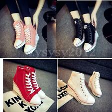 Fashion Women Canvas High Heel Top Wedge Platform Heel Lace Up Shoes Sneakers