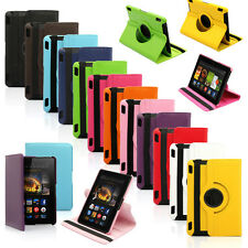 360 Rotating PU Leather Case Cover w Stand For Amazon HDX 17.8cm Kindle Fire