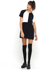 Motel Penny Babydoll Dress in Black and White Panels (MR102)