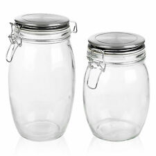 Glass Clamp Lid Kitchen Storage Jar Air Tight Seal Metal Rice Pasta Cereal Foods
