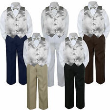 4pc Boy Suit Set Silver Lt Gray Vest Bow Tie Baby Toddler Kids Formal Pants S-7