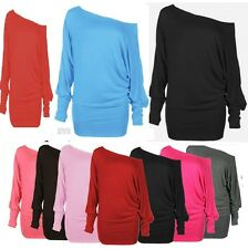 WOMENS ONE OFF SHOULDER BATWING LONG SLEEVE SLOUCHY T-SHIRT TOP-UK SIZE 8-22 btw