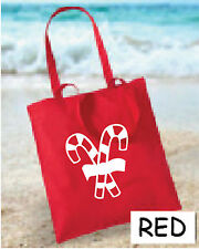 Christmas Candy Cane Shopping Cotton Tote Bag  Xmas Gift Tote Bag Free P&P