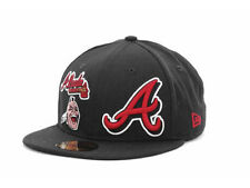 Atlanta Braves MLB 3-Pack Logos MLB New Era Flat Bill Brim Fitted Hat Cap Lid GA