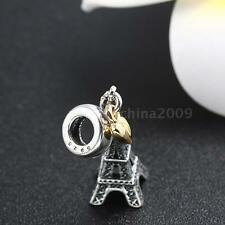 Eiffel Tower Pendant CHARM Sterling Silver 925 F/ European Bracelet Necklace