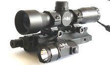 Tactical 4x32 Compact Scope with Red Laser, LED Flashlight and Tri-rail Mount