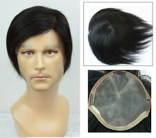 100% unprocessed human hair replacement system mono toupee mens top piece topper