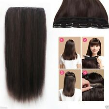 220g 3/4Half Head One Hairpiece 5Clips On Real Human Hair Clip In Hair Extension