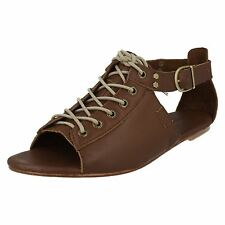 Ladies Caterpillar Brown Leather Lace Up Sandals Wide/Large Width Style MEGHAN