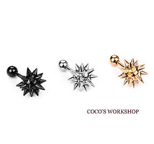 TITANIUM STAINLESS STEEL SCREW BACK SPIKE BALL GOTH PUNK MENS WOMEN STUD EARRING