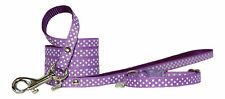 purple pink red yellow & white polka dots chihuahua dog puppy collar & lead