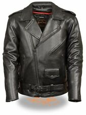 Men's Shaf Milwaukee Blacked Out Highway Patrol Leather Motorcycle Jacket