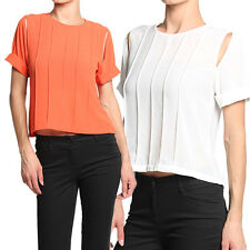 MOGAN Chic Colored Pintucked Slit CREPE BLOUSE Casual Evening Short Shirt Top