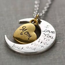 Gold/Silver Family I LOVE YOU TO THE MOON AND BACK Necklace Charm Pendant Gift