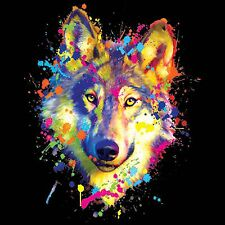 Wolf T shirt Dean Russo Neon Graphic Wild Dog Animal Mens Small to 6XL Big Tall