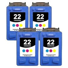 Set of 4 Remanufactured Tri-Color Ink Cartridges compatible with HP 22 (C9352AN)