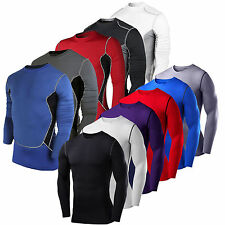 Mens Compression Under Base Layer Top Tight Long Sleeve Thermal T-Shirts Skins