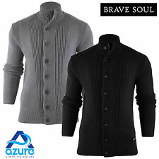 Mens Brave Soul Knit Jumper Funnel Neck Cardigan Cotton Knitted Sweater Top S-XL