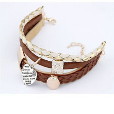 Hot Sale Bracelet Jewelry Leather Infinity Charm Cuff Bangle Wrap Womens Gift