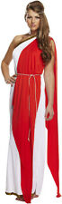 Ladies Red Greek Roman Grecian Goddess Fancy Dress Outfit Womens Adult Costume