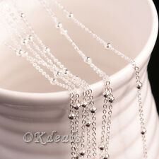 """5PCS Men Women 16""""-30"""" Silver Plated 3MM Beads Ball Chain Necklace Jewelry hot"""