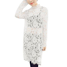 Women Long Sleeves Scalloped Trim See Through Slim Fit Lace Tunic Shirt