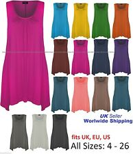 Ladies Hanky Hem Womens Sleeveless Scoop Neck Long Tunic Vest Top UK 6-26 'Hanky