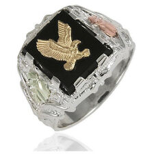 Black Hills Sterling Silver Men's Eagle Ring with 12k Gold Leaves Size 9 to 14