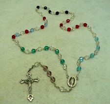 "VINTAGE MULTI-COLOR GLASS ""OUR LADY OF GUADULUPE""   CATHOLIC ROSARY"