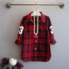 New fashion baby girls shirts plaid letter print graceful shirts baby girl tops