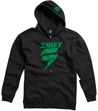 SHIFT RACING MENS CORP ZIP FRONT FLEECE HOODIE jumper motocross mx BLACK GREEN
