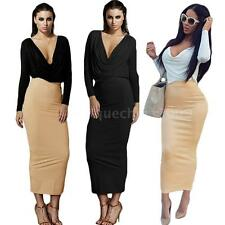 Women Sexy V Neck Crop Top High Waist Slim Ruffle Dress Bodycon Outfits W7O4