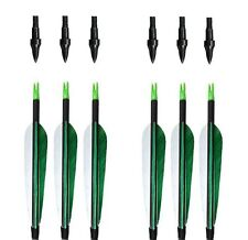 6PK Green White Fletching Hunting Carbon Arrows Shoot For Recurve&Compound Bow