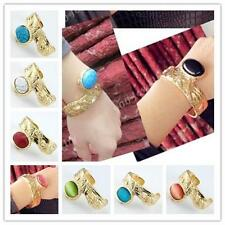 Cat's Eye Gem/Howlite Turquoise Oval Bead Gold Bracelet Bangle Cuff Women Girl
