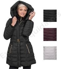 Kensie Women's Long Synthetic Down Coat Belted with Hood