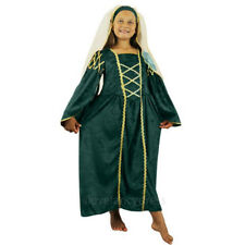 GIRLS GREEN TUDOR PRINCESS FANCY DRESS COSTUME MEDIEVAL QUEEN DRESS & HEADPIECE