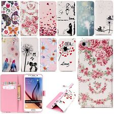 Cute Paint Magnetic PU Leather Flip Stand Wallet Card Holder Slots Case Cover
