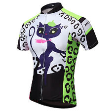 Cat Girl Women Cycling Clothing Short Sleeve Bicycle Bike Jersey Jacket Green AU