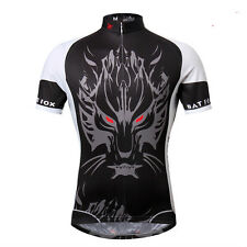Black Men's Bike Clothing Short Sleeve Cycling Jerseys T-shirt Bicycle Tops Wolf