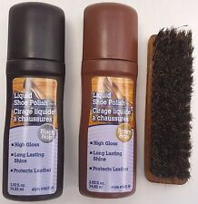 HORSEHAIR SHINE BRUSH & LIQUID SHOE POLISH BLACK OR BROWN KIT , SELECT: Items