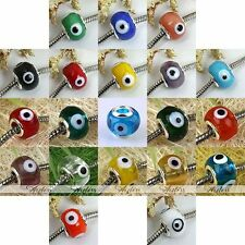 5pcs Evil Eye Lampwork Glass Big Hole European Charm Loose Beads Jewelry Making