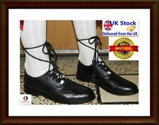 Ghillie Brogues Black Leather Ghillie Brogues Scottish Kilt Shoes UK Sizes 6-11/