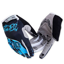 Blue Full Finger Cycling Gloves MTB Bike Bicycle 3D Gel Pad Gloves Shockproof