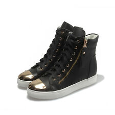 Fashion Women High Top Sneakers Leather Lace Up Casual Shoes Rivet Hiden Heel