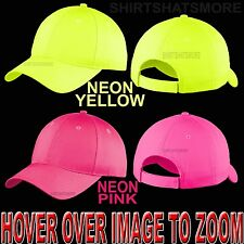 NEON Blank Unstructured Unisex Baseball Cap Hat Low Profile Adjustable Golf NEW!